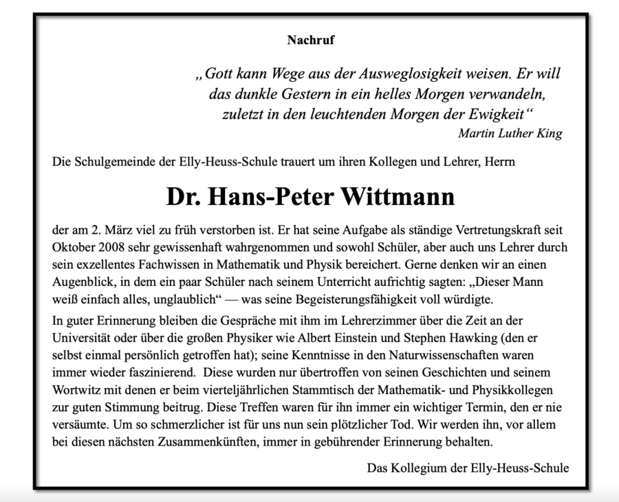 Nachruf Hans-Peter Wittmann