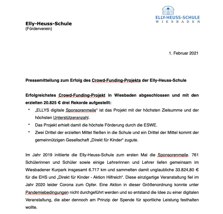 Pressemitteilung Förderverein zum Erfolg des Crowd-Funding-Projekts