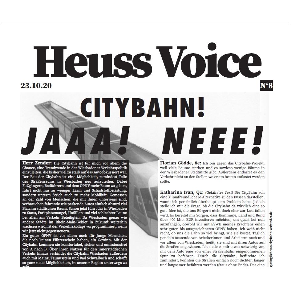 Oktober-Ausgabe der Heuss Voice Schülerzeitung